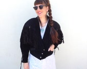 Vintage BLACK Southwestern Leather SUEDE Fringe Motorcycle Coat Jacket Size Medium