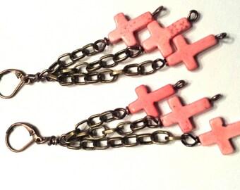 Cross earrings, coral howlite crosses, southwestern style, antiqued brass chain earrings, long earrings