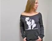 Womens sweatshirt, crazy cat lady, Abby, cat shirt, off the shoulder sweatshirt, Alternative Apparel slouchy sweater, rescue, gift for her