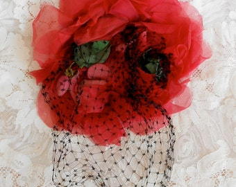 Hold for Lady Lavinia   Large Vintage Red Silk Rose
