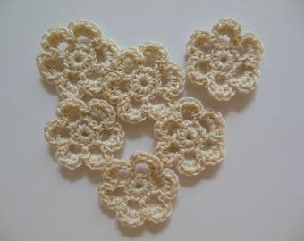 Mini Crocheted Flowers - Ecru - Cotton - Set of 6 - Crocheted Appliques - Crocheted Embellishments