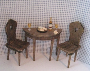 Dollhouse Country half table,   two  chairs, country look table, tete a tete table, twelfth scale. a dollhouse mini