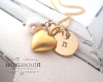 Hand Stamped Personalized Necklace - Heart Charm Initial Necklace - 14K Gold Jewelry - Little Charmer (Puffed Heart)
