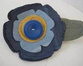Fabric Flower Pin, Appliqued Flower Pin, Flower Broach, Sizzix Die Cut Flower, Blue Flower Pin, Recyled Jewelry