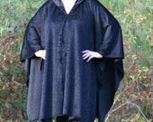 Black Mink - A Slinky Hooded Poncho with Vneck Microfleece Cape