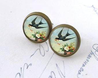 Swallow on Aqua Sky Picture Post Earrings Antiqued Brass Stud Earrings