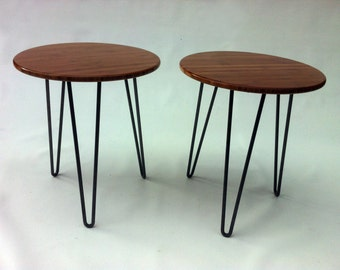"Pair of 20"" Round Mid Century Modern Side Tables - Atomic Era Design In Caramelized Bamboo with Hairpin Legs"