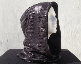 Silver mesh and black reversible hood, great for the desert or other festivals