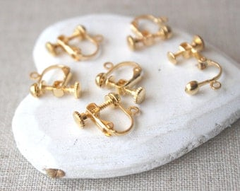 Gold screw Clip on earring findings gold screw back clip earring clip finding non pierced clip adaptor gold Clip screw in Clipon SF1
