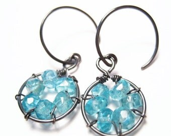 Blue Apatite Gemstone Sterling Silver Earrings