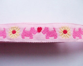 SALE Cute Japanese Woven Trims -Dog Heart Pink- 1 M