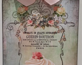 Shabby Cottage French Cupcake and Roses Vintage Look Wood Wall Plaque