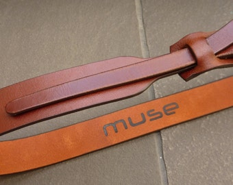 Skinny Leather Belt in Cognac by Muse 1 inch Free Shipping