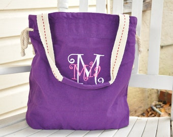Personalized roomy canvas slouch totes  choice of 8 colors
