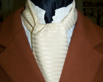 """Ascot or Carvat  Creamy  Champagne Stripe silky fabric 4"""" x 50"""" Mens Historial Bow Tie"""