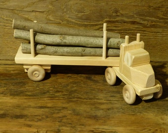 Handmade Wood Toy Log Truck Wooden Toys Eco Friendly Green Childs Boys Kids Childrens Birthday Gift Present Made in USA