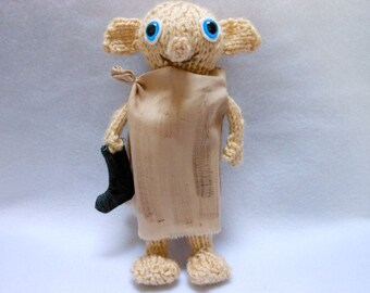 Mini Dobby the House Elf Doll Hand Knitted with Black Sock, Ornament,Fantasy, Christmas Tree Ornament