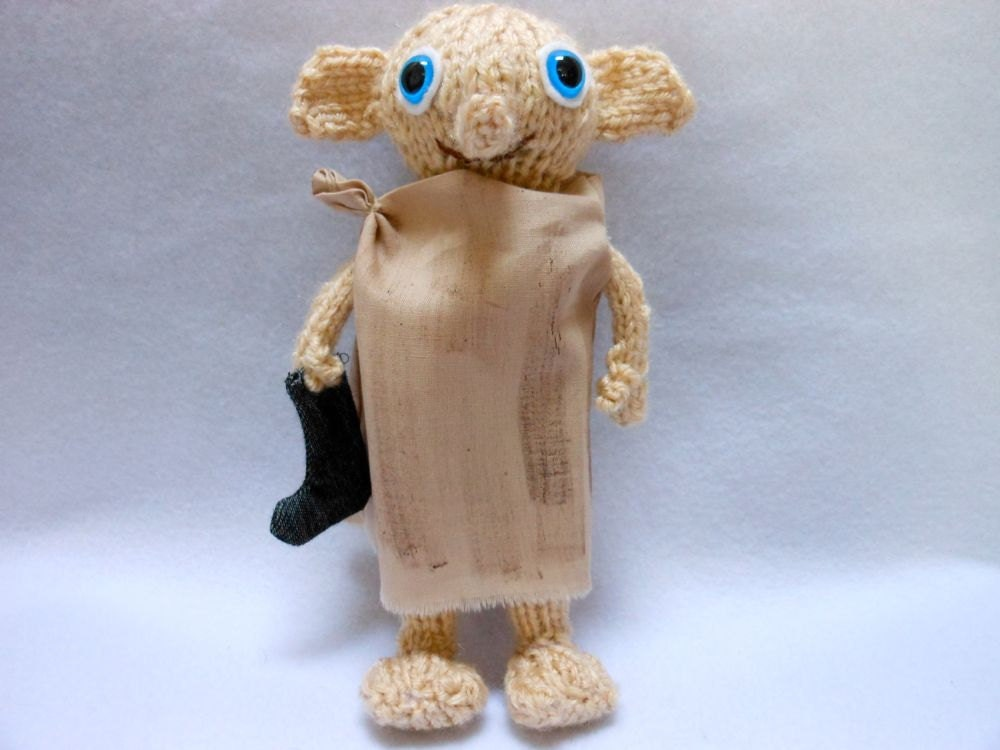 Mini Elf Knitting Pattern : Mini Dobby the House Elf Doll Hand Knitted with Black Sock