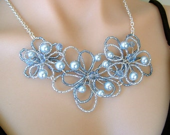Wired lacey daisy flower necklace choker bib in pale baby blue with Swarovski pearls and crystals for weddings, bridal, balls, evening wear