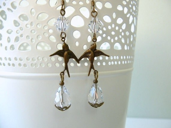 Vintage Inspired Antiqued Brass Swallow Birds and Clear Swarovski Crystal Long Dangle Dangly Earrings