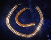 Vintage Prong Set Rhinestone Necklace and Bracelet