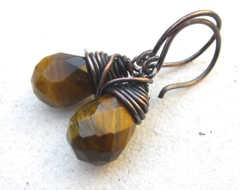 Tiger eye dangle earrings patinaed copper stone earrings minimal drop earrings simple boho wire wrapped earrings