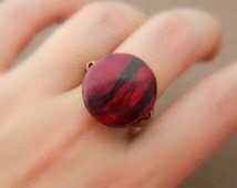 Red and Black Jasper RING - Size 8 - Red, Black, Burgundy, Unique, Winter, Hot, Geometric, Two Colors, Dark Colors, Blocking, Jewelry Rings