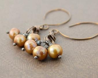 Freshwater Drop Earrings, Pearls Earrings, Copper Earrings, Brass, Brown Earrings, Rustic Earrings, Jewelry Earrings, Brown Jewelry, Aretes