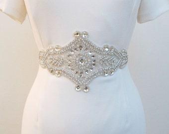 Beaded Bridal Sash Wedding Rhinestone Sash Belt Crystal Beaded Sashes Extra Wide Rhinestone Applique Wedding Crystal Applique Bride Belts