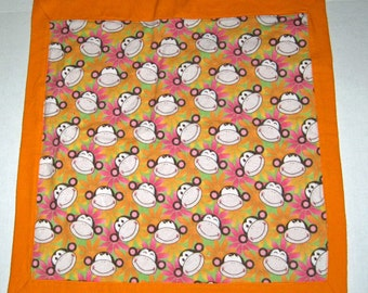 Baby Doll Blanket Funky Monkey  Print  For Dolls 13 14 15 16 18 inch Dolls Cabbage Patch  Baby Alive