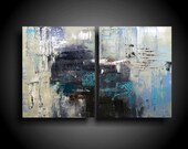 Abstract Painting. Wall Art. Modern Art. Original. Contemporary Painting. Huge. 30 x 48. Blue Cream White Coastal Blue