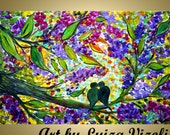 Abstract Spring Painting Love Birds Lilac Tree Impasto Oil Art Embellished Giclee Canvas by Luiza Vizoli 36x24