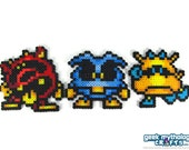 Dr. Mario Virus Nintendo - Yellow, Blue, and Red Perler Bead Sprite Set