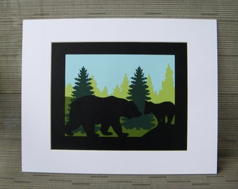 Mama Bear and Cub Paper Cut Art Silhouette Wall Art trees green black nature animals 14X11 Matted Unframed