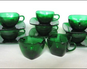 Mid Century Modern Forest Green Glass Charm Square Tea or Coffee for SIX  Cups and Saucers Sugar and Creamer