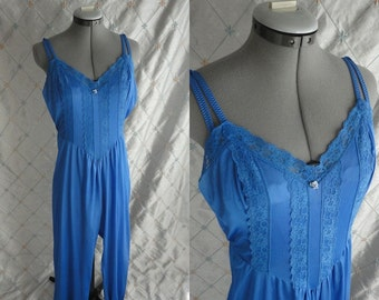 70s 80s Lingerie // Vintage 1970s 1980s Royal Blue Jumpsuit Pajamas by Lady Cameo Dallas Size S M