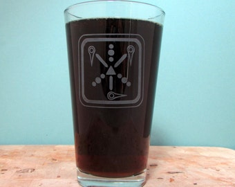 Flux Capactitor Sandblasted Etched Pint Beer Glass