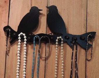 jewelry organizer,    jewelryholder,  necklace rack , jewelry organizer,  wooden 12 pegs -two birds on a branch