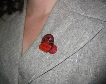 Cherry Red Button Brooch - Signed & Dated