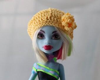 Yellow Crochet Hat for Pukifee BJD, Lati Yellow or Monster doll Beret