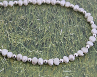 Fresh Water Pearls with Silver Beads Necklace