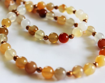 Natural Carnelian with dark copper beads necklace