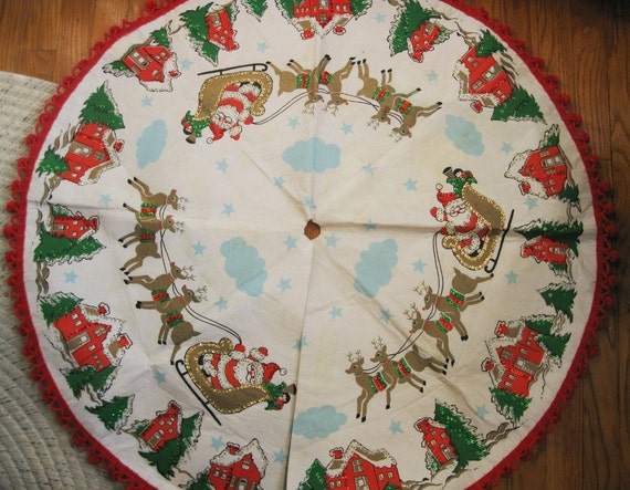 Vintage christmas tree skirt with santa and his sleigh