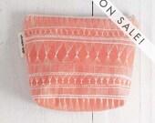 medium cotton zip pouch - Coral Market Weave