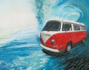 5x7 Greeting Card by Daina Scarola, Item #GC5X7-47 (red VW van, surf mobile, wave, encaustic)