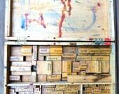 Vintage stamp set in wood box