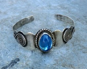 Vintage Child Sterling Cuff Bracelet Blue Glass Stone Mexican Silver ca 1950 Petite Wrist