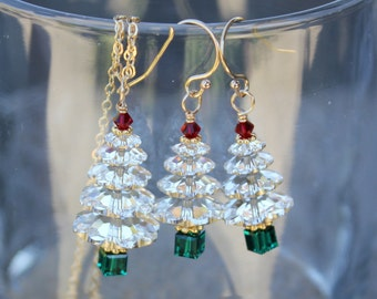 Sparkly Swarovski Crystal Christmas tree gold necklace & earring set - clear trees, red top, green trunk, gold accents- free shipping USA