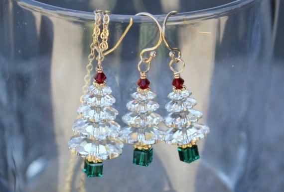 Swarovski Christmas Tree Decoration Set : Sparkly swarovski crystal christmas tree gold necklace