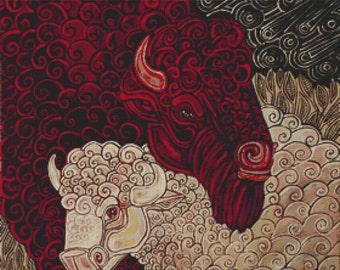 Buffalo Cross Stitch Kit By Lynnette Shelley 'The Night The Stars Fell